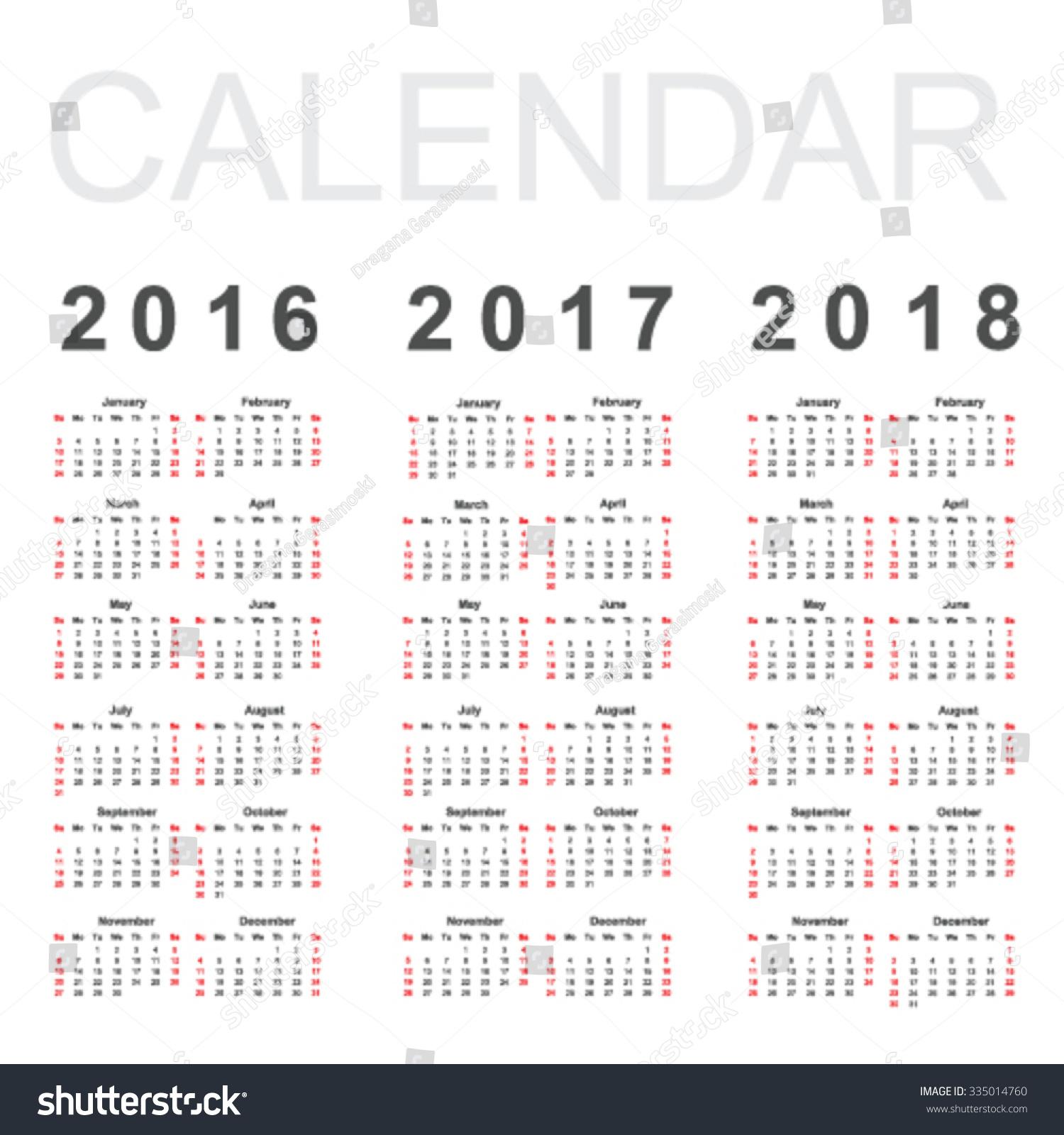 Calendar 2016 2017 2018 Year Vector Stock Vector 335014760 ...