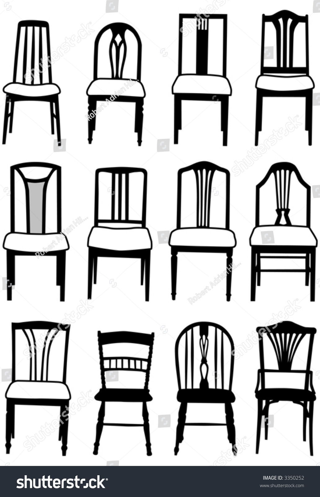 Selection Of Vector Dining Room Chairs Of Different Styles
