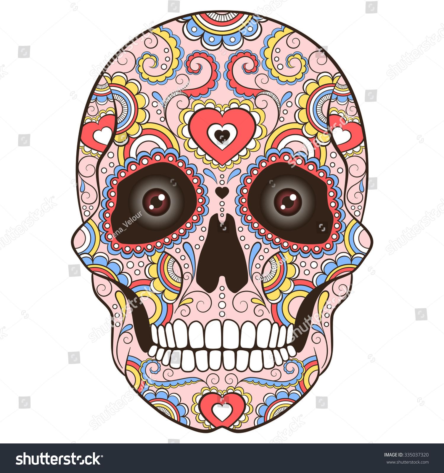 - Colored Sugar Skull Doodle Ornament Vector Stock Vector (Royalty