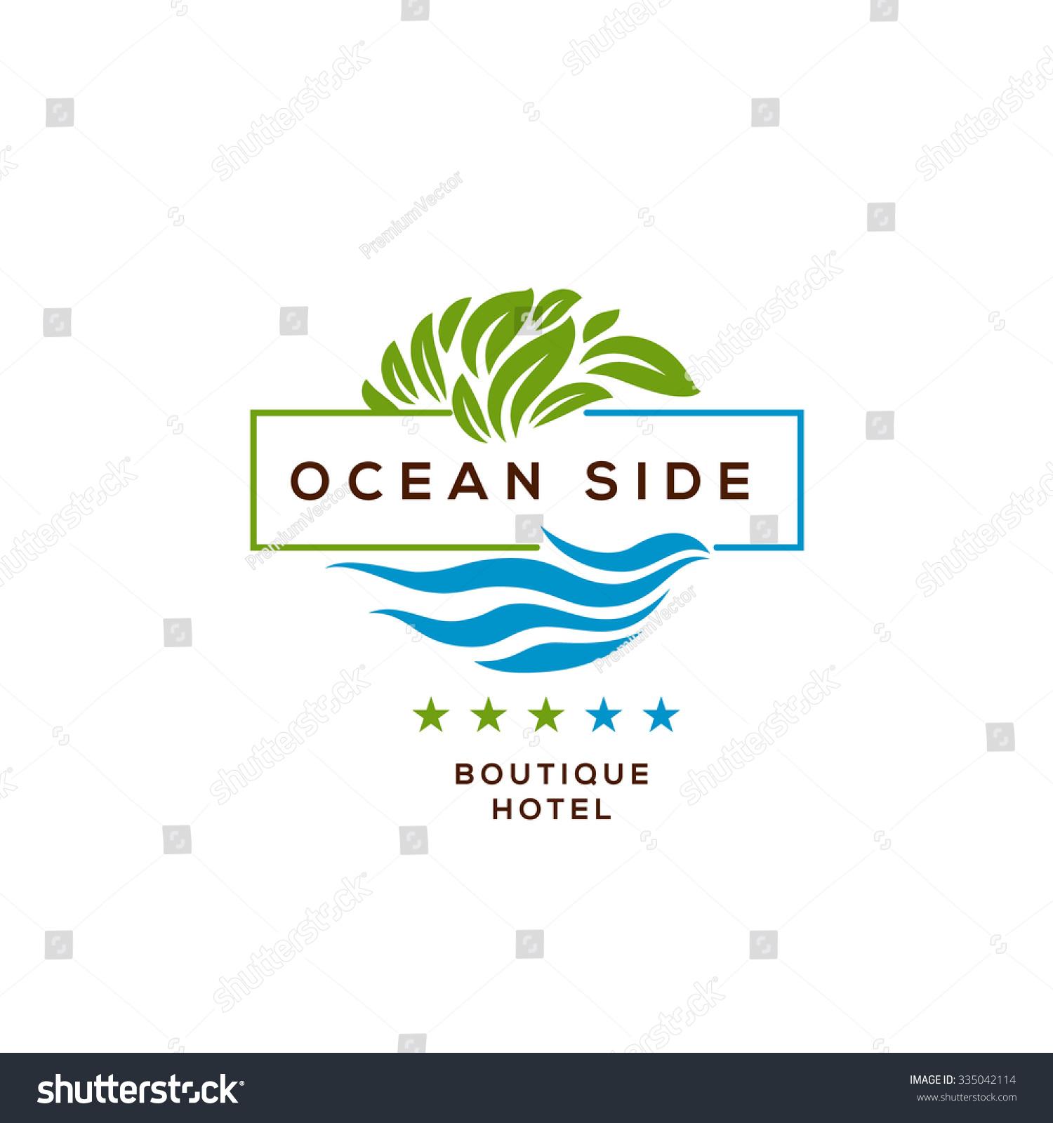 Logo boutique hotel ocean view resort stock vector for Design hotel logo