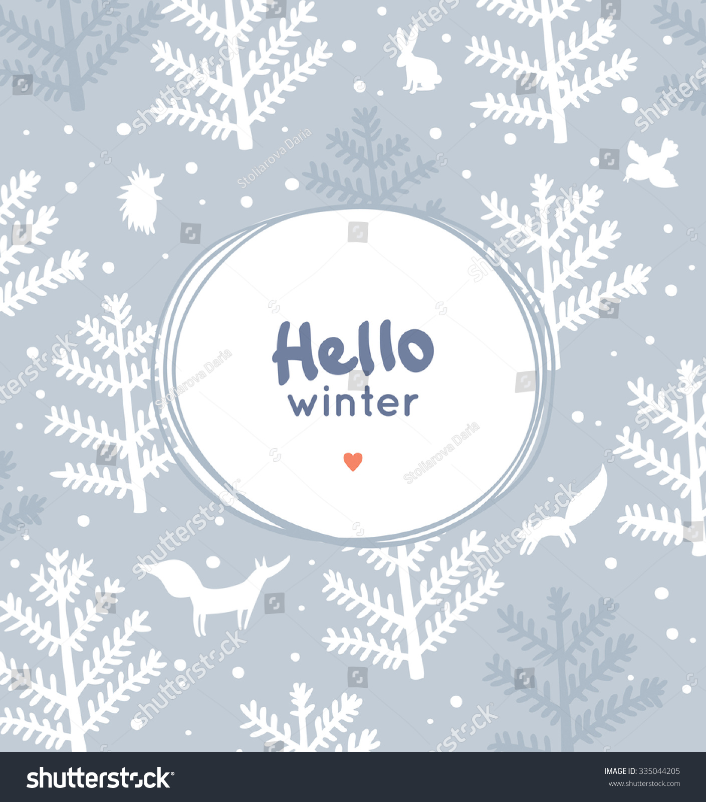 Hello Winter Greeting Card Winter Forest Stock Vector Royalty Free