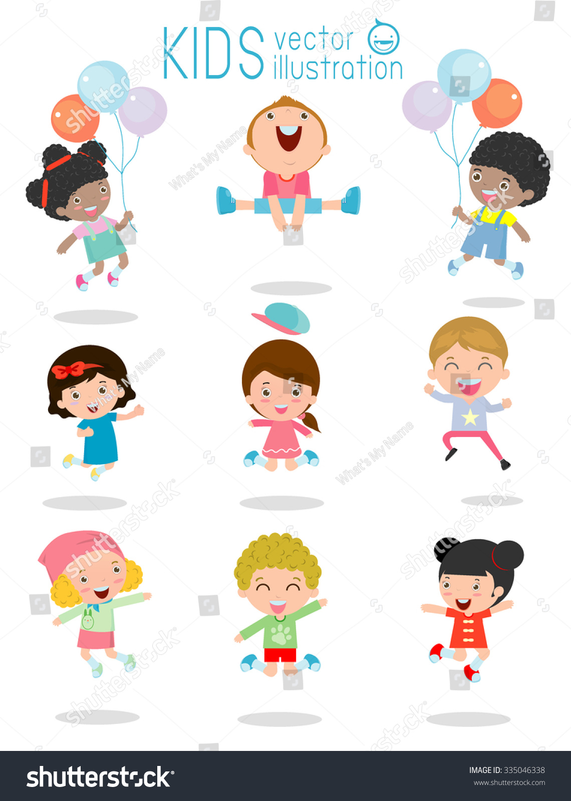 jumping kids multiethnic children jumping kids stock