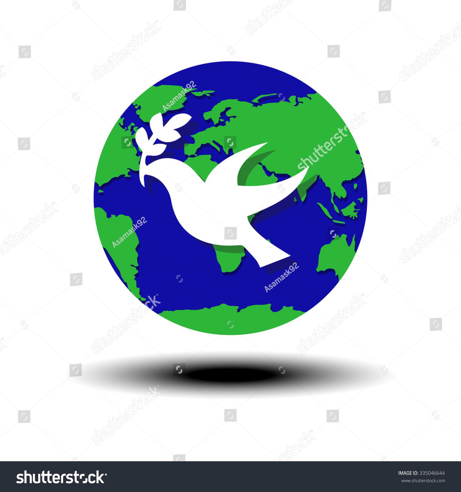 world peace symbol globe white dove stock vector 335046644