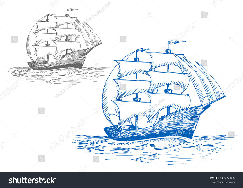 old sailing brig under full sail stock vector 335052896 shutterstock