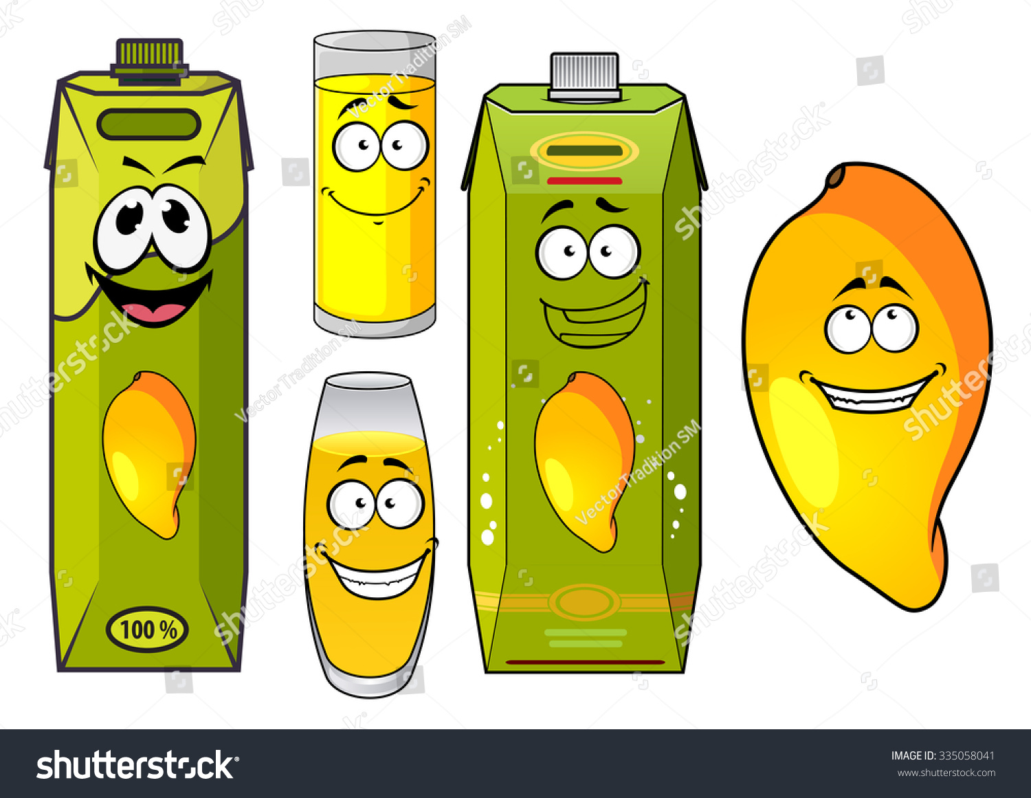100 Pictures Cartoon Characters tropical mango juice cartoon characters funny | royalty-free