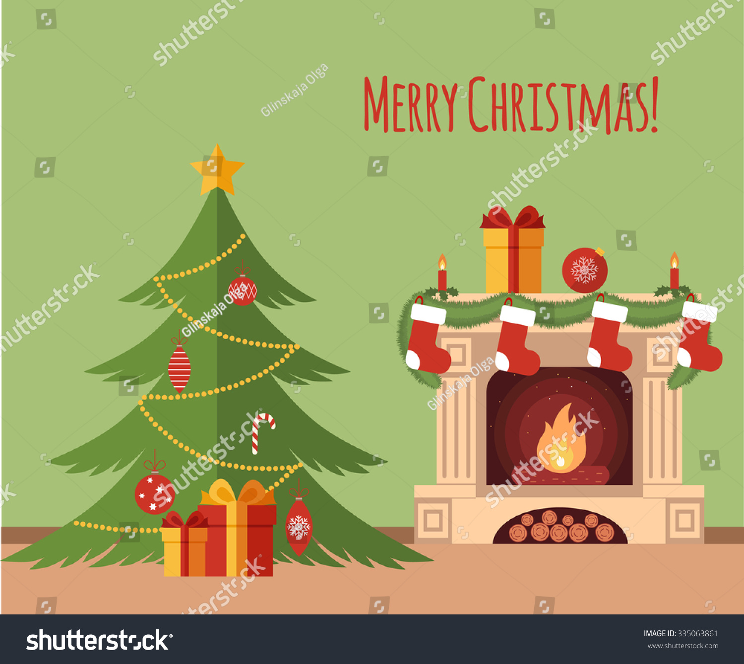christmas tree by fireplace illustration made stock vector