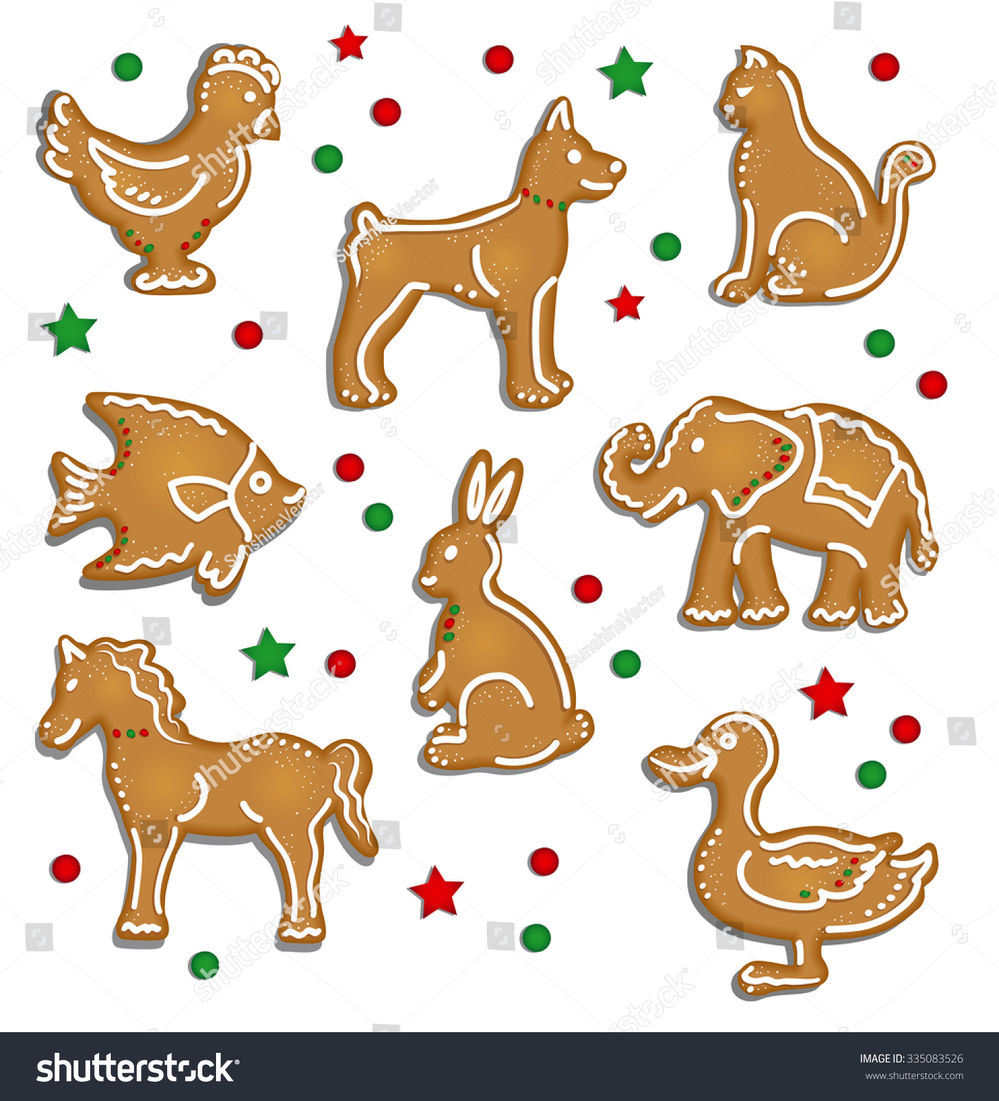 Christmas Gingerbread Cookies Animals Stock Vector