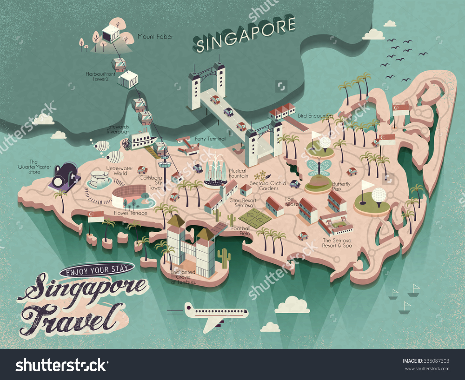 Lovely Singapore Must See Attractions Travel Vector – Singapore Tourist Attractions Map