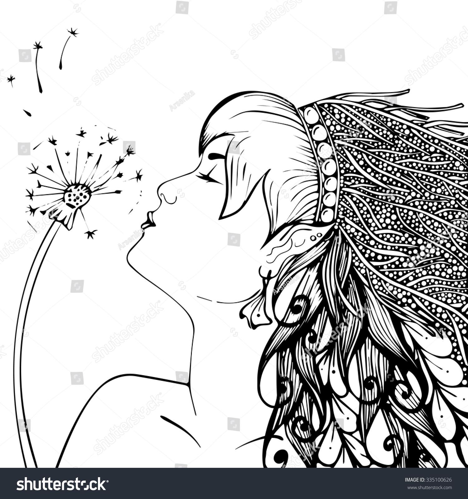 Elf Girl Dandelion Black White Coloring Stock Vector (Royalty Free ...