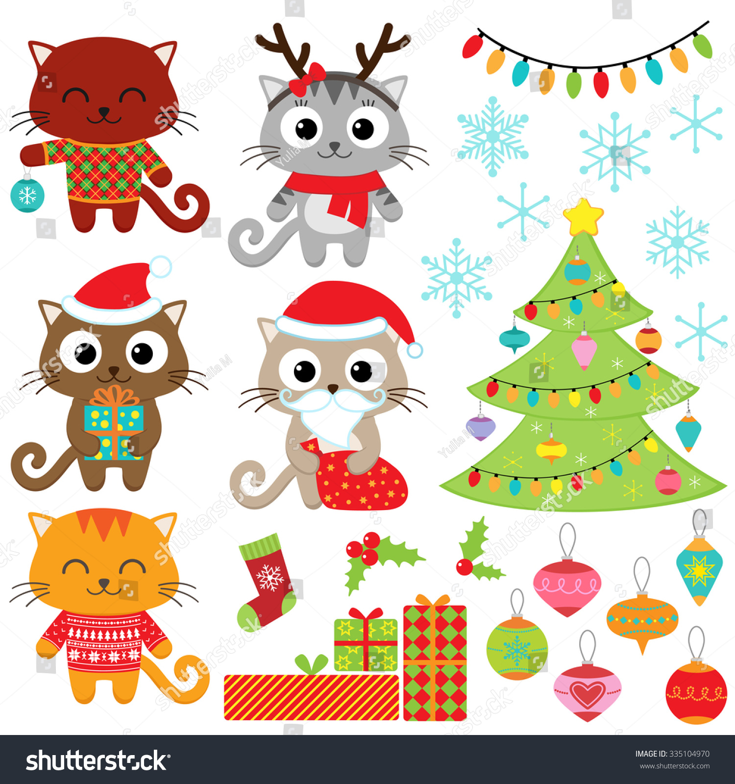 Christmas Vector Set Of Cats In Costumes Gifts Tree Ornaments And Snowflakes