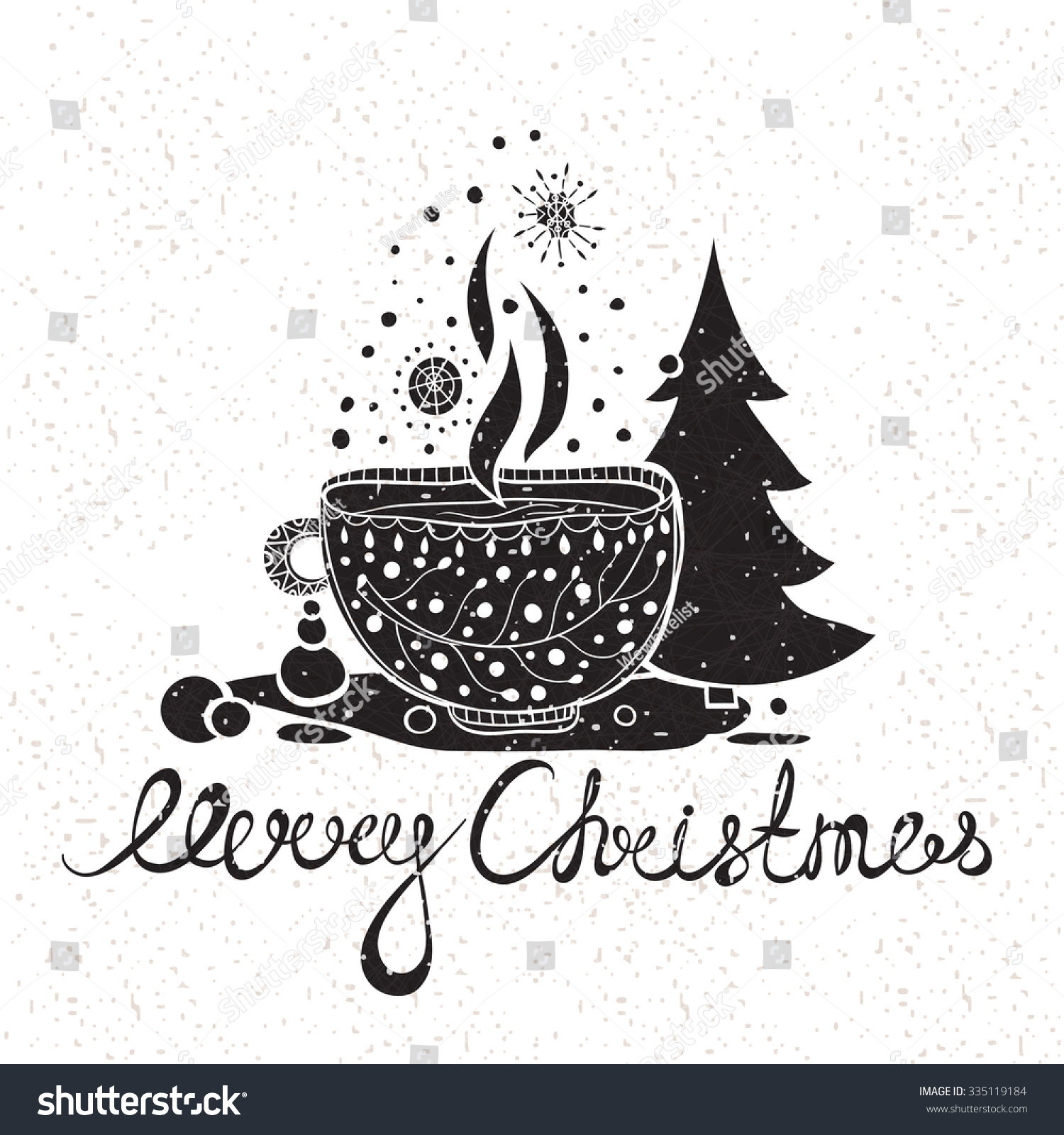 Hand Drawing Text Merry Christmas Greeting Stock Vector Royalty