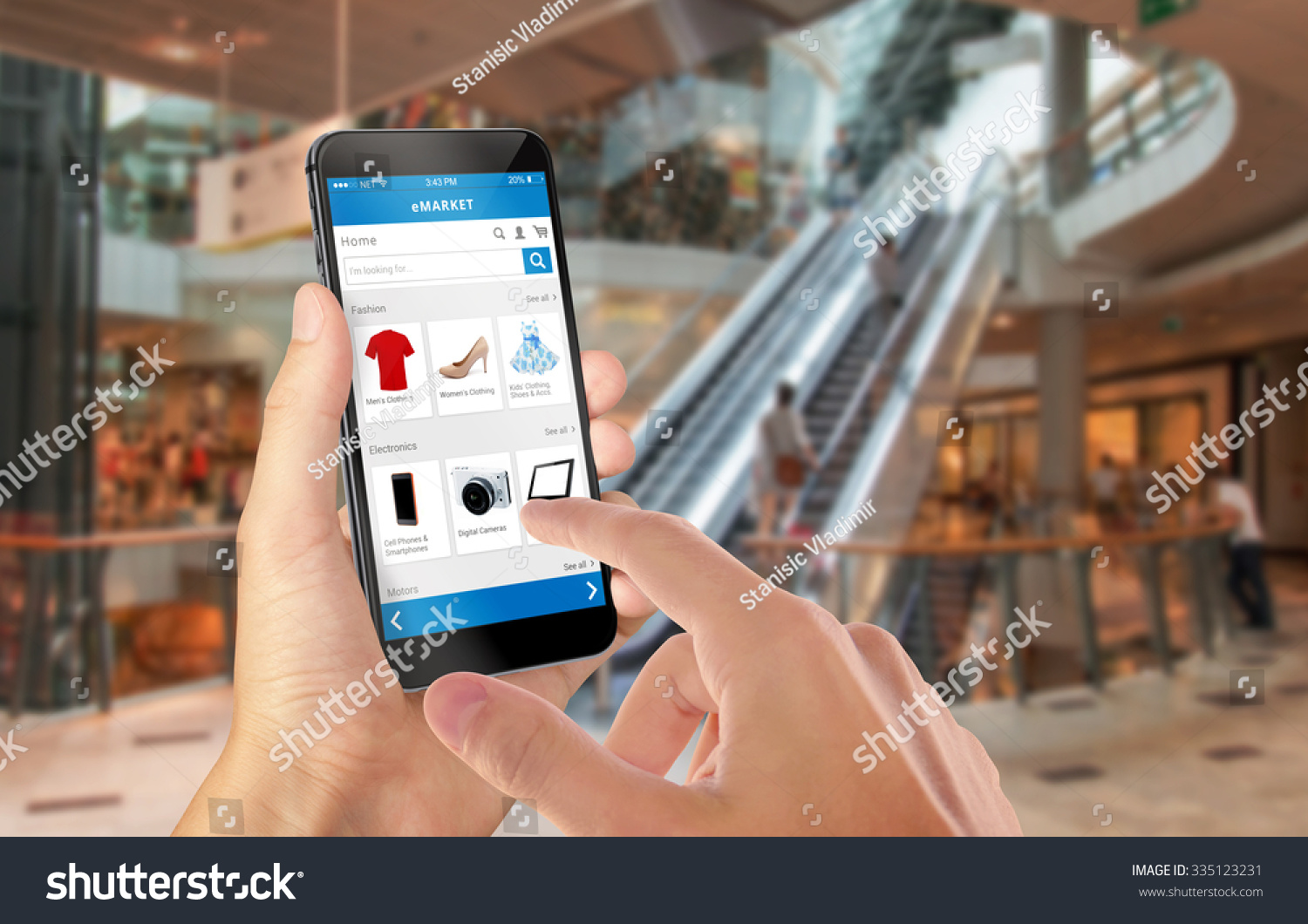 smart phone online shopping in man hand shopping center in background buy clothes shoes