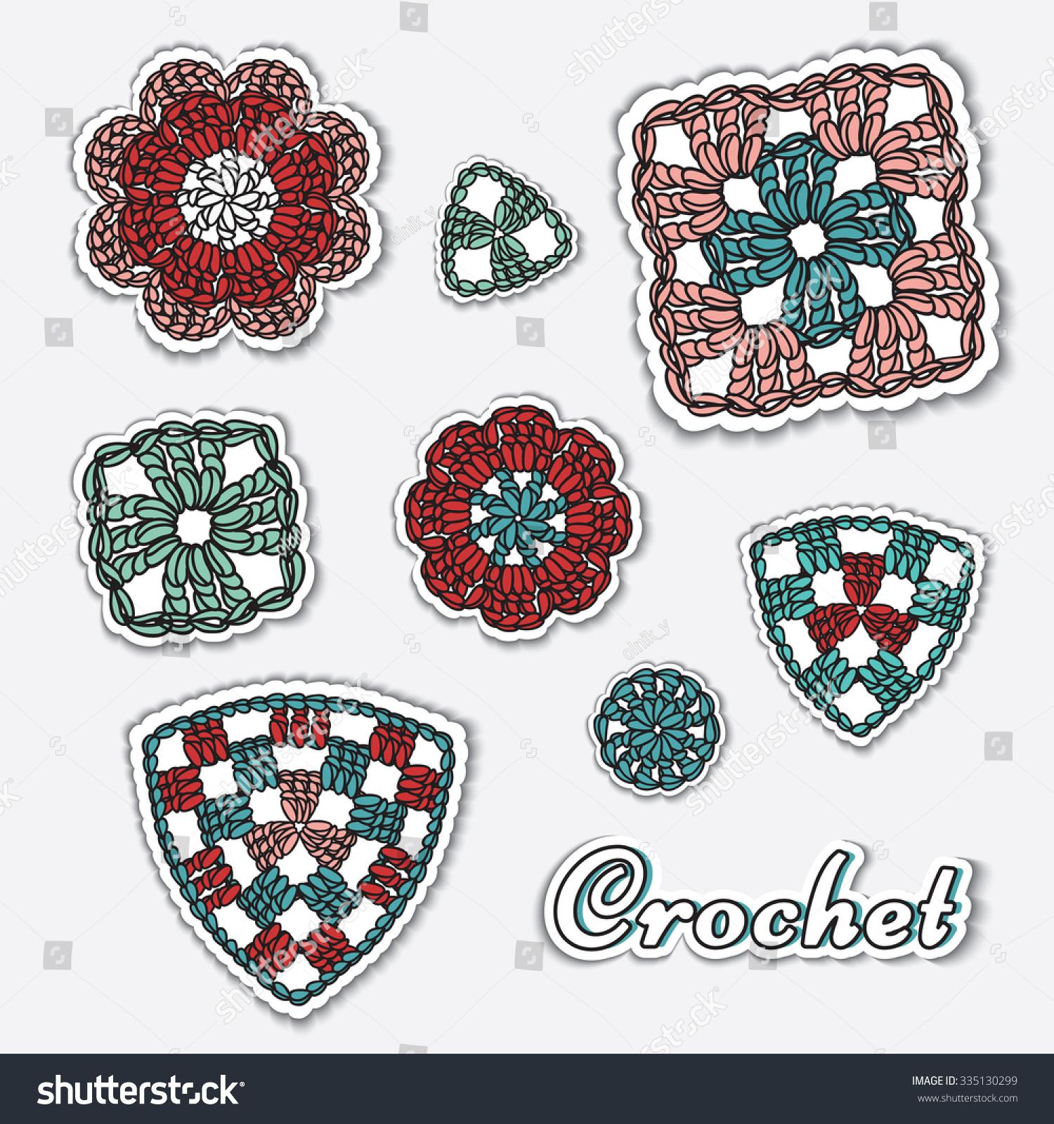 ... crochet elements. Granny square, flower, triangle. Crochet stitches