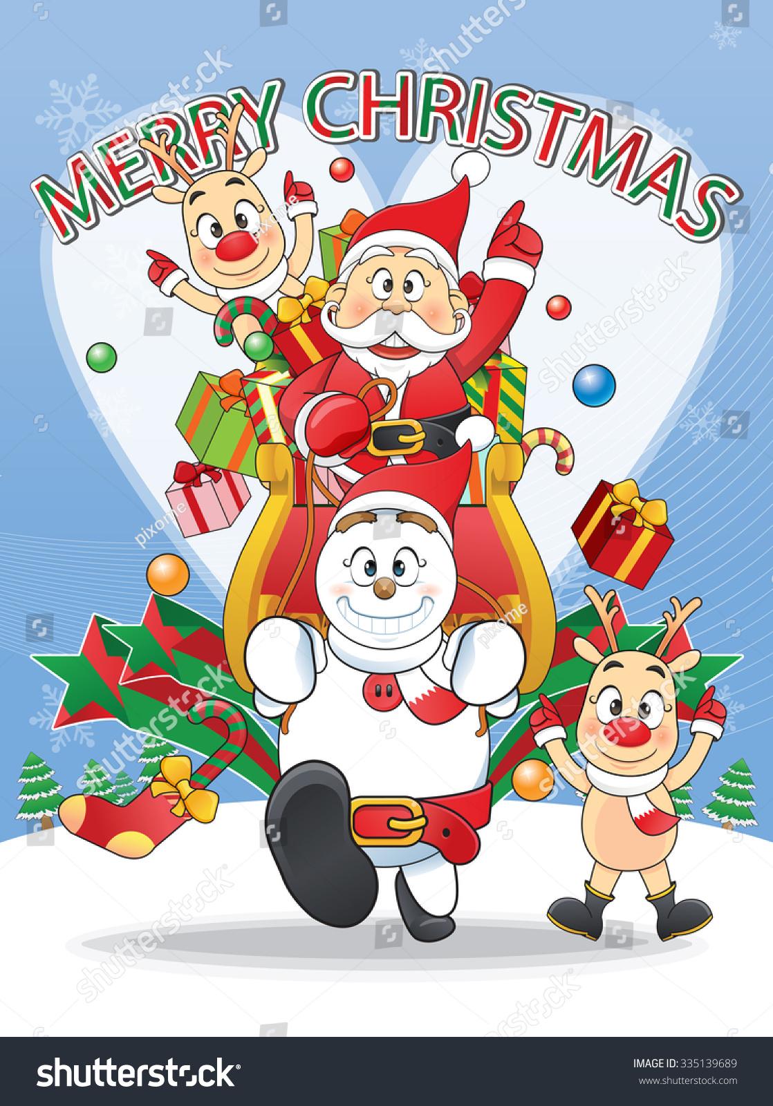 Funny Flat Character Merry Christmas Santa Stock Vector (Royalty ...