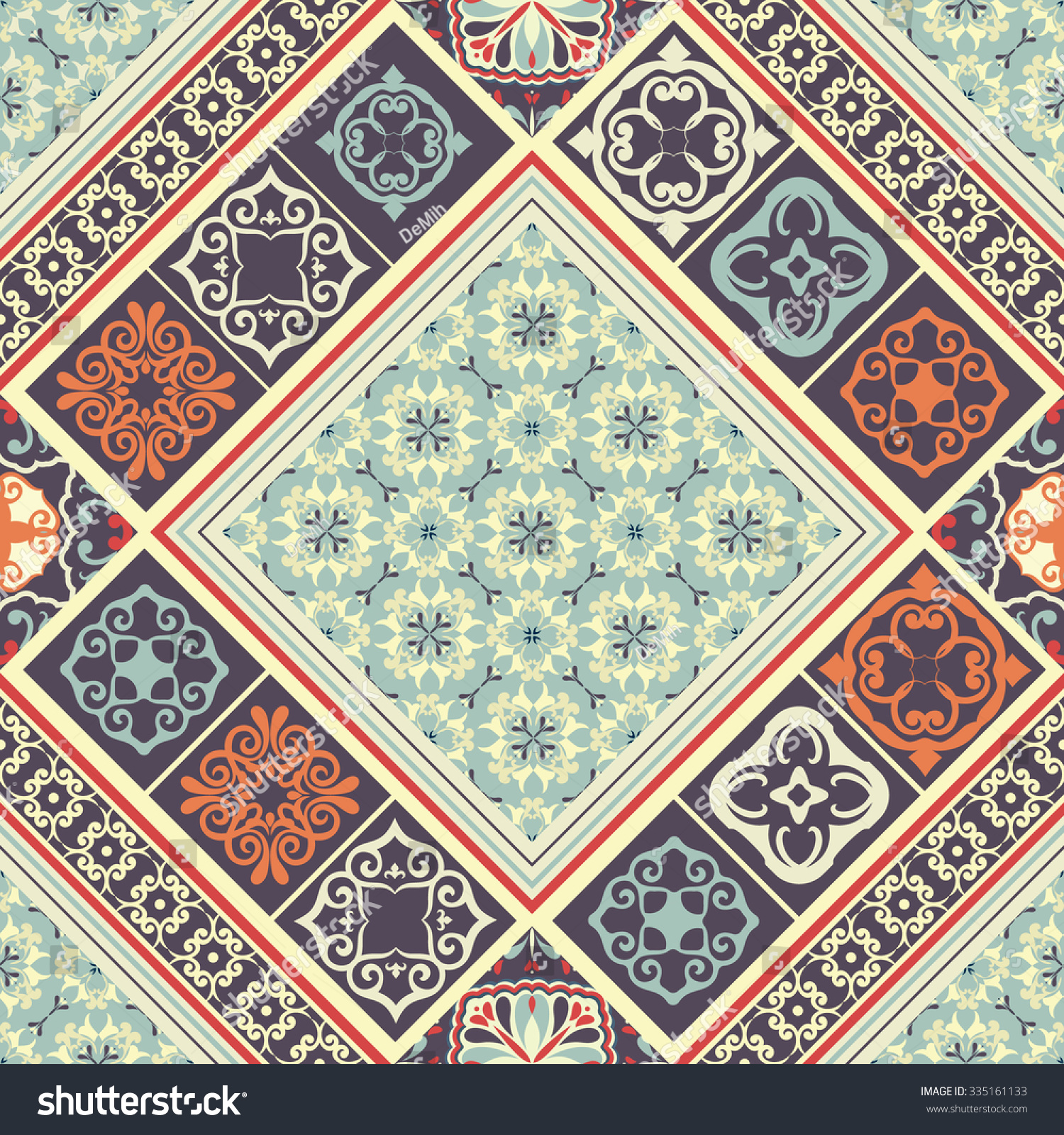Tiles seamless pattern classic colored ceramic stock vector tiles seamless pattern with classic colored ceramic tiles dailygadgetfo Images