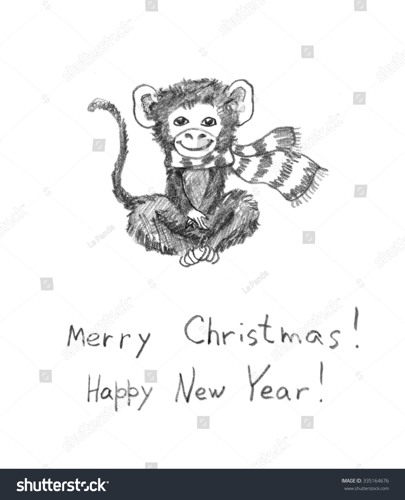 Christmas monkey pencil painted sketch christmas greeting card