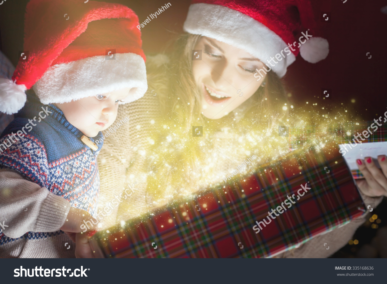 Christmas Holiday Mother Baby Opens Magic Stock Photo (Edit Now ...