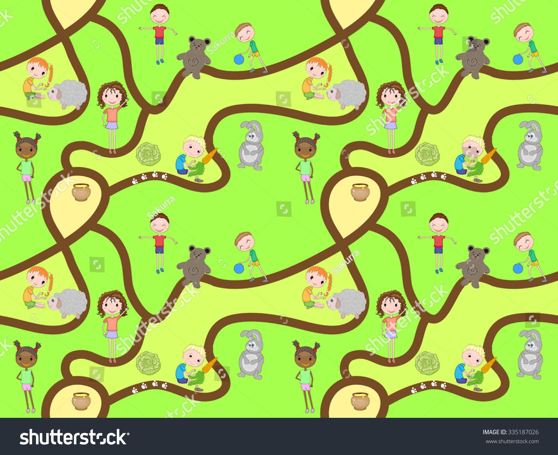 Cartoon map seamless pattern roads kids stock vector for Kids pattern fabric