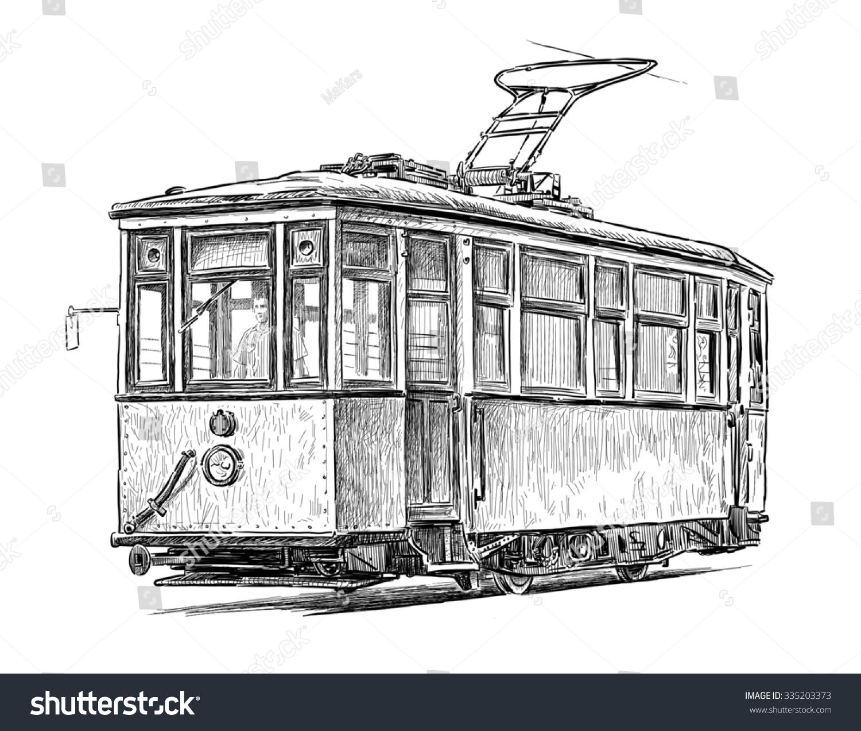 Old Tram Stock Illustration 335203373 - Shutterstock