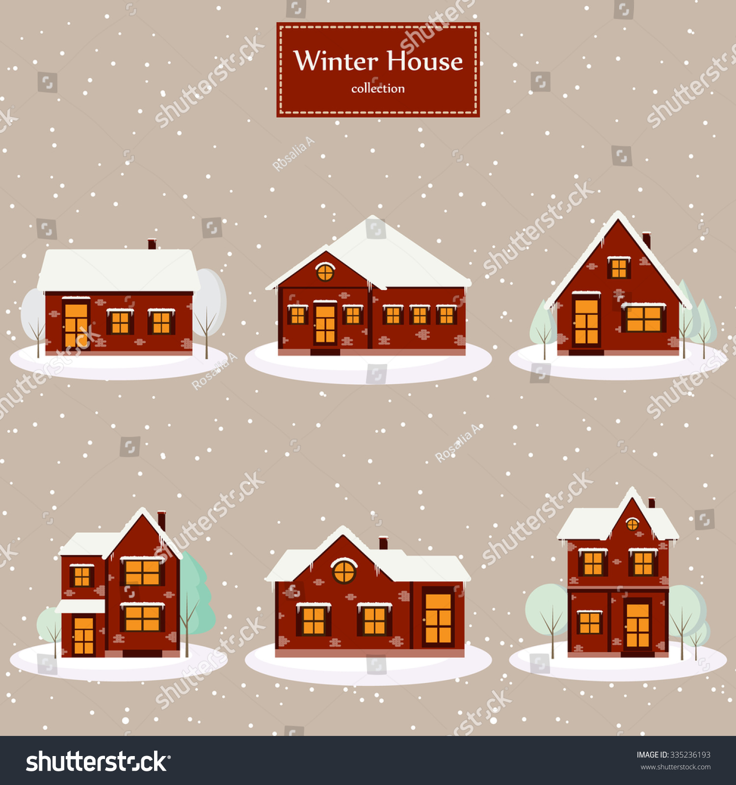 Christmas house with snow art - Winter House Collection Vector Image Of The Red Brick Christmas Houses Covered With Snow