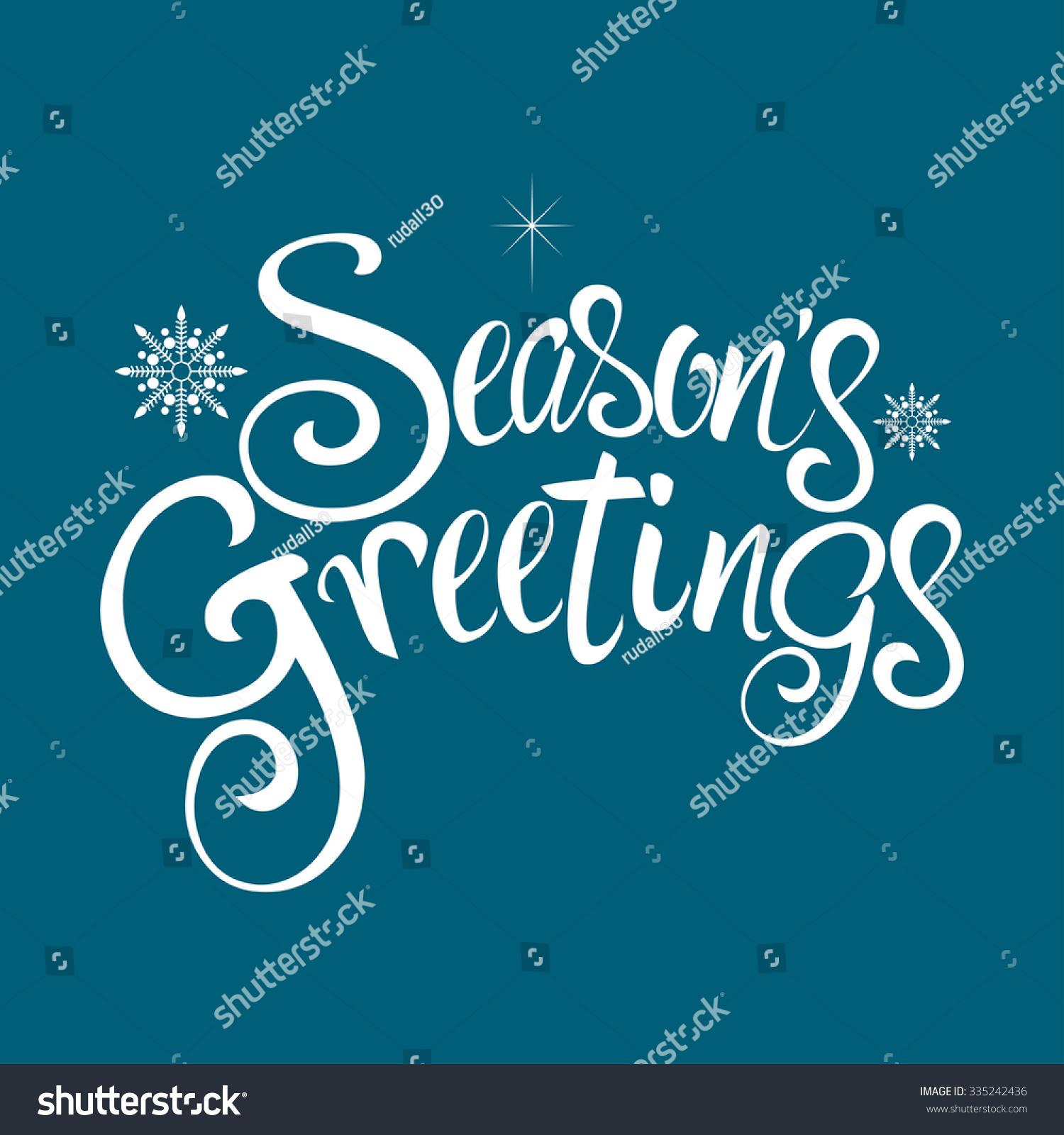 text seasons greetings decorative snowflakes christmas stock