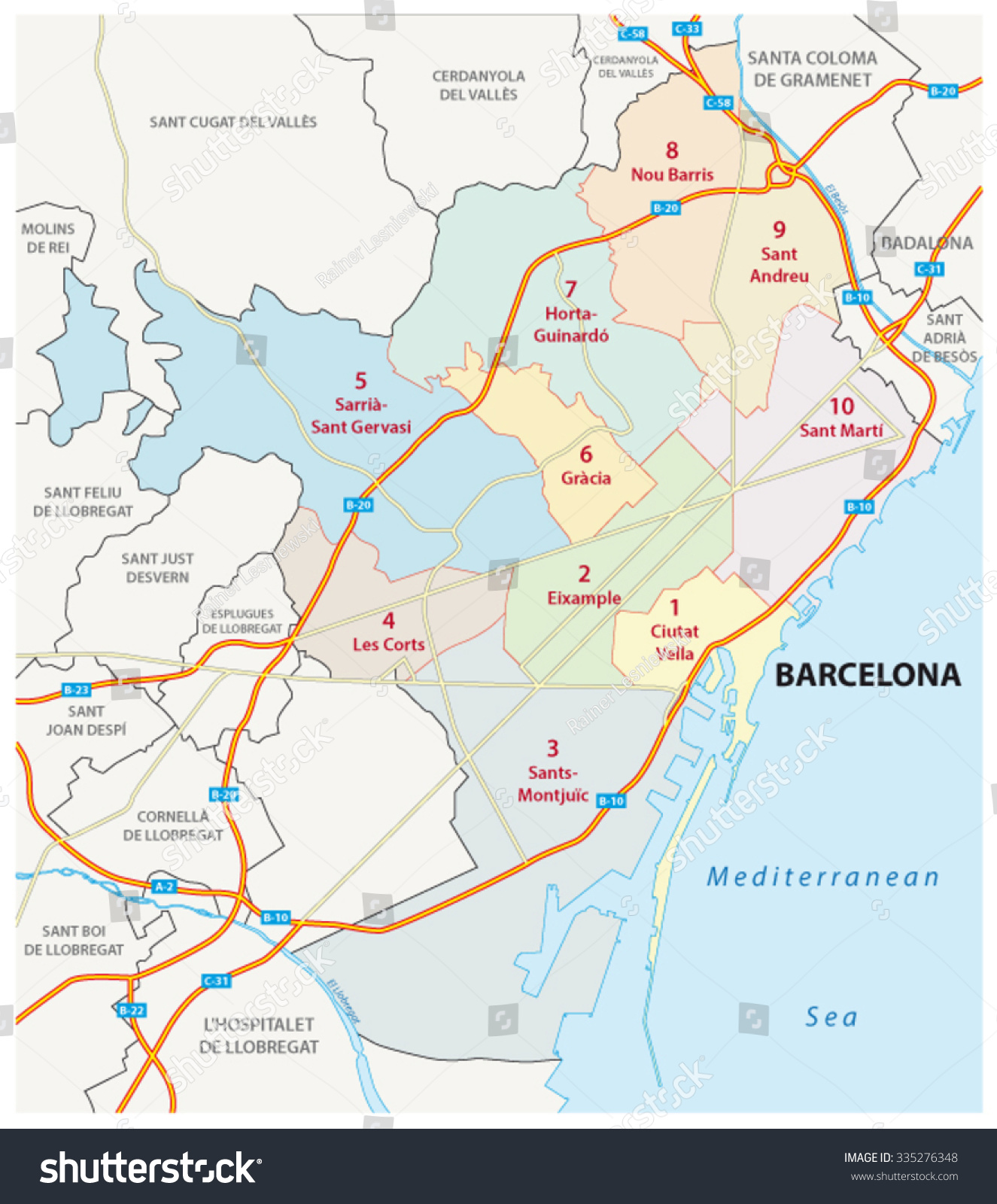Barcelona Road Administrative Map Stock Vector 335276348 Shutterstock