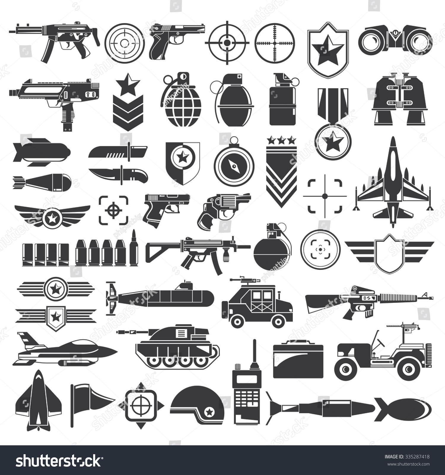 Military Weapon War Icons Stock-Vektorgrafik (Lizenzfrei) 335287418 ...