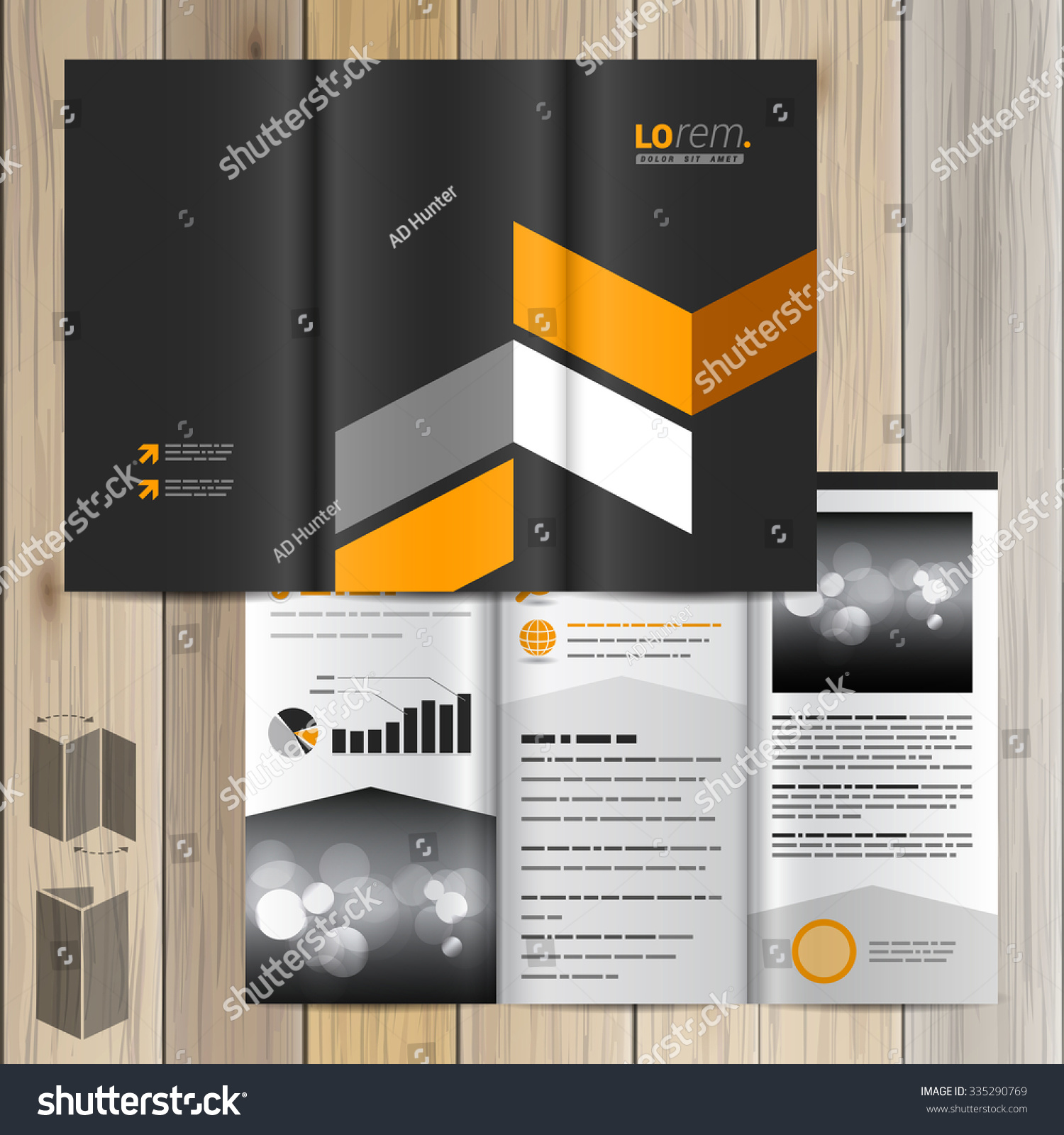 Classic Black Brochure Template Design Yellow Stock Vector Royalty