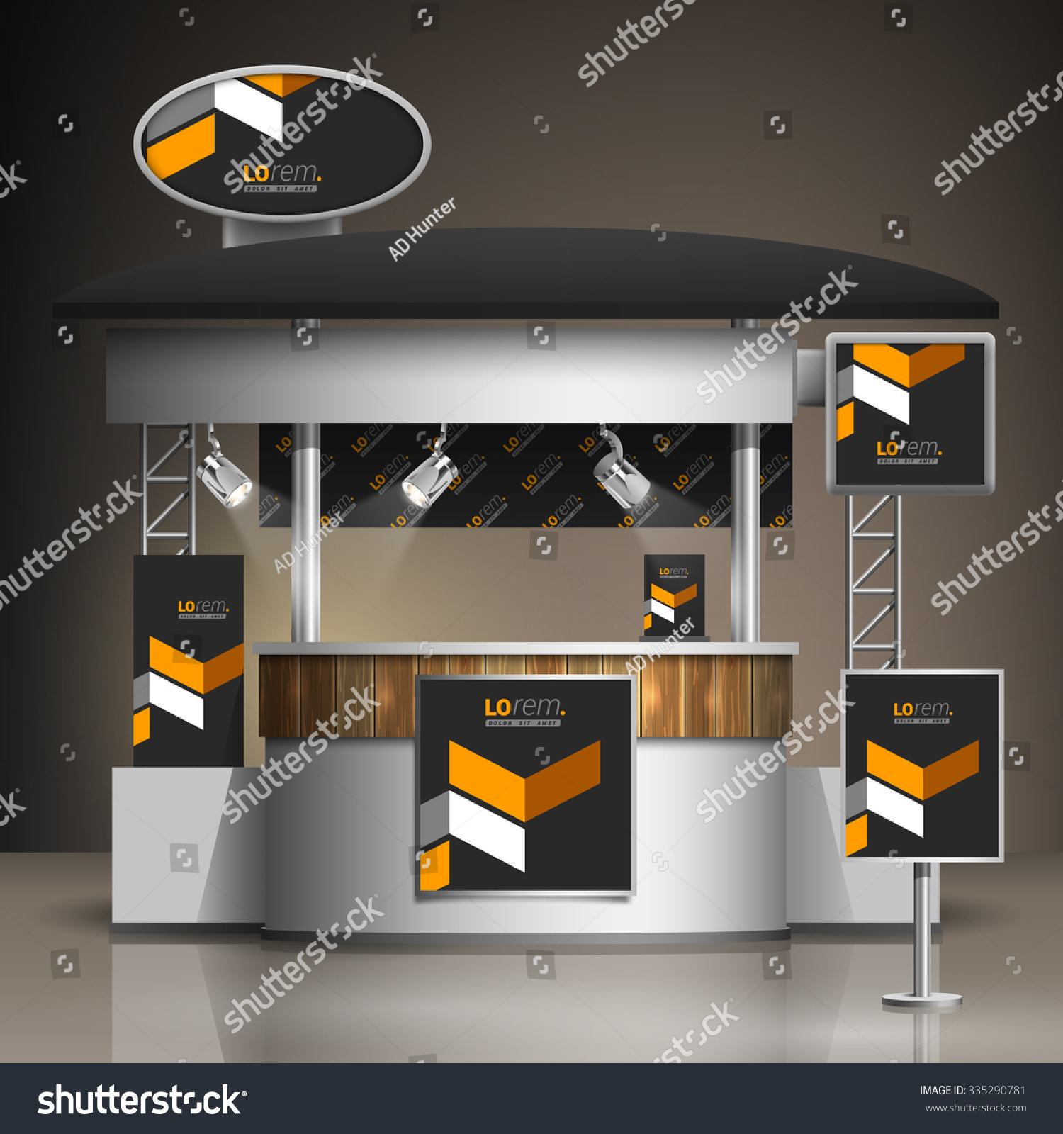 Exhibition Stand Elements : Classic black exhibition stand design yellow stock vector