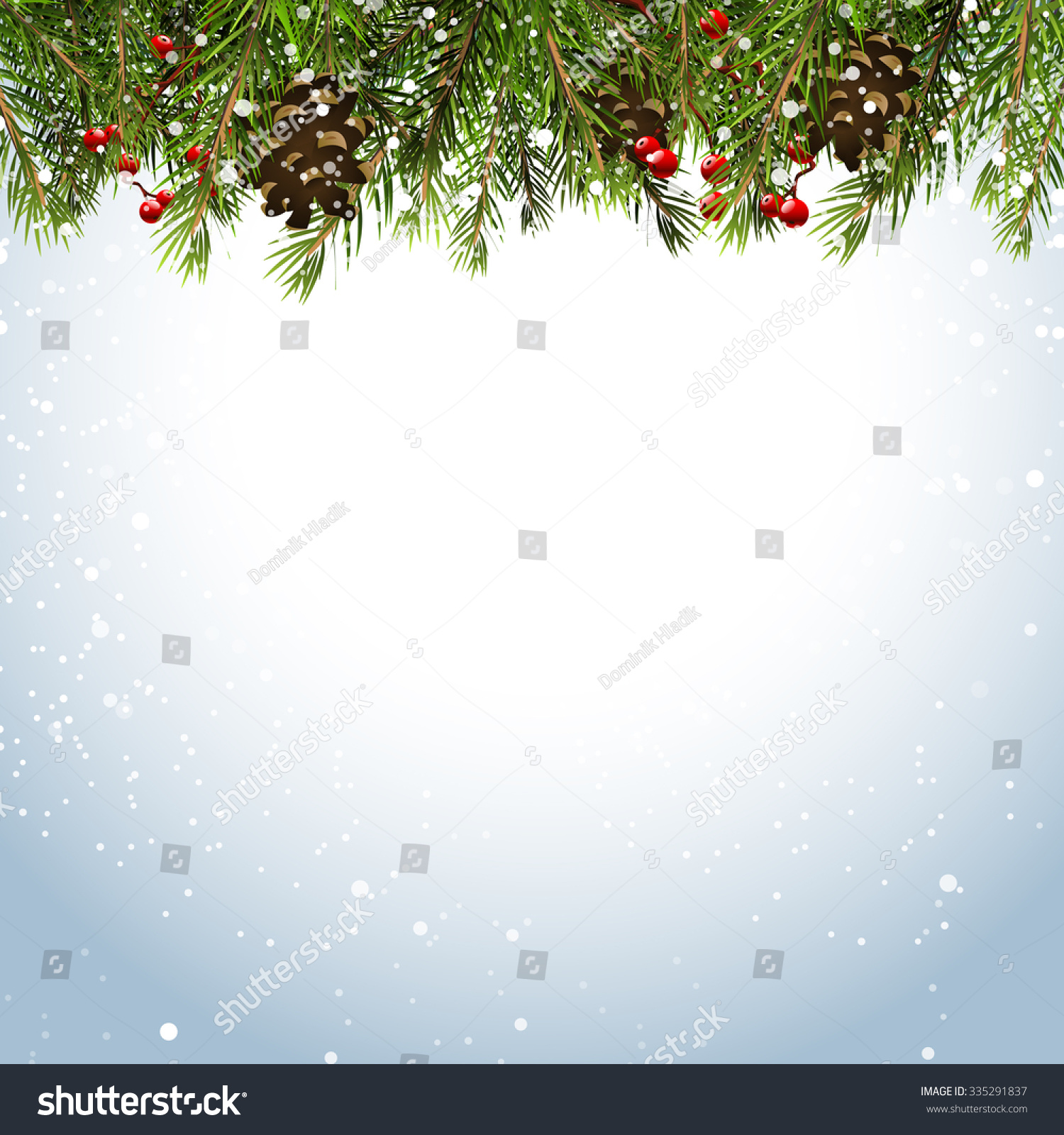 Christmas Background Branchespinecones Berries Stock
