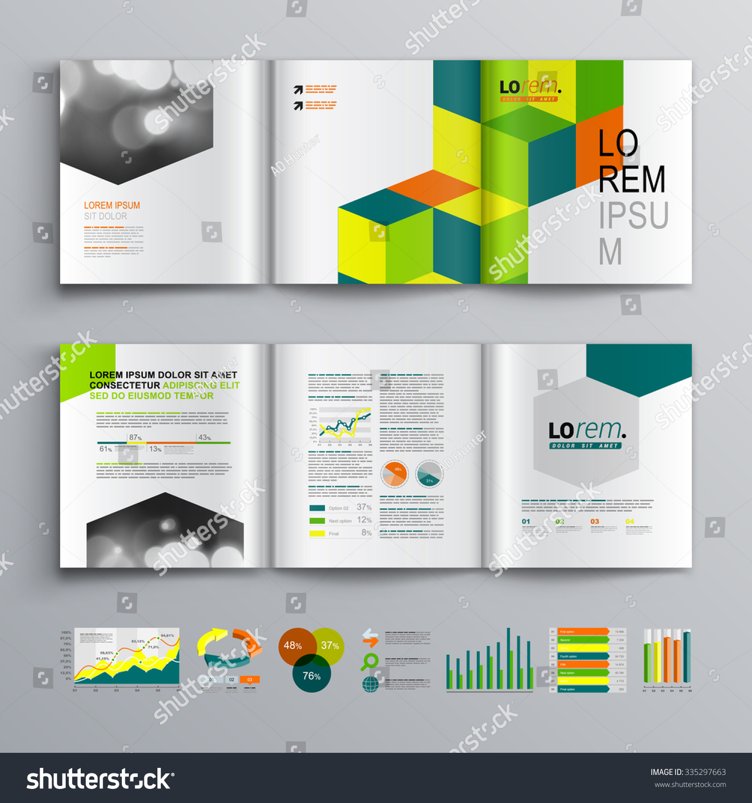 Business Brochure Template Design Cubes Square Stock Vector (Royalty ...