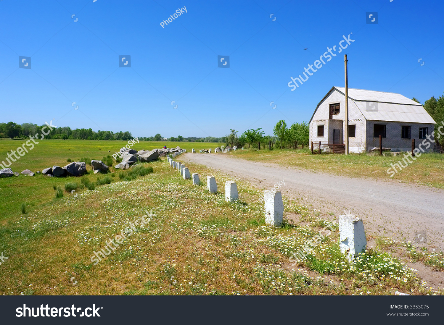 Country stone road passes near house stock photo 3353075 for Country home builders near me