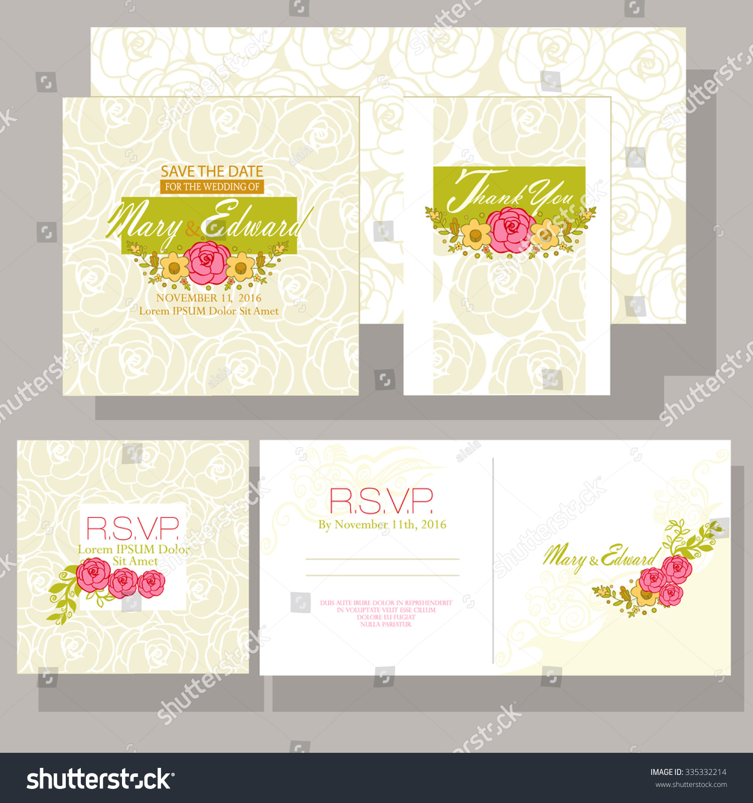 Wedding Invitation Ornamented Color Flowers Design Stock Vector ...