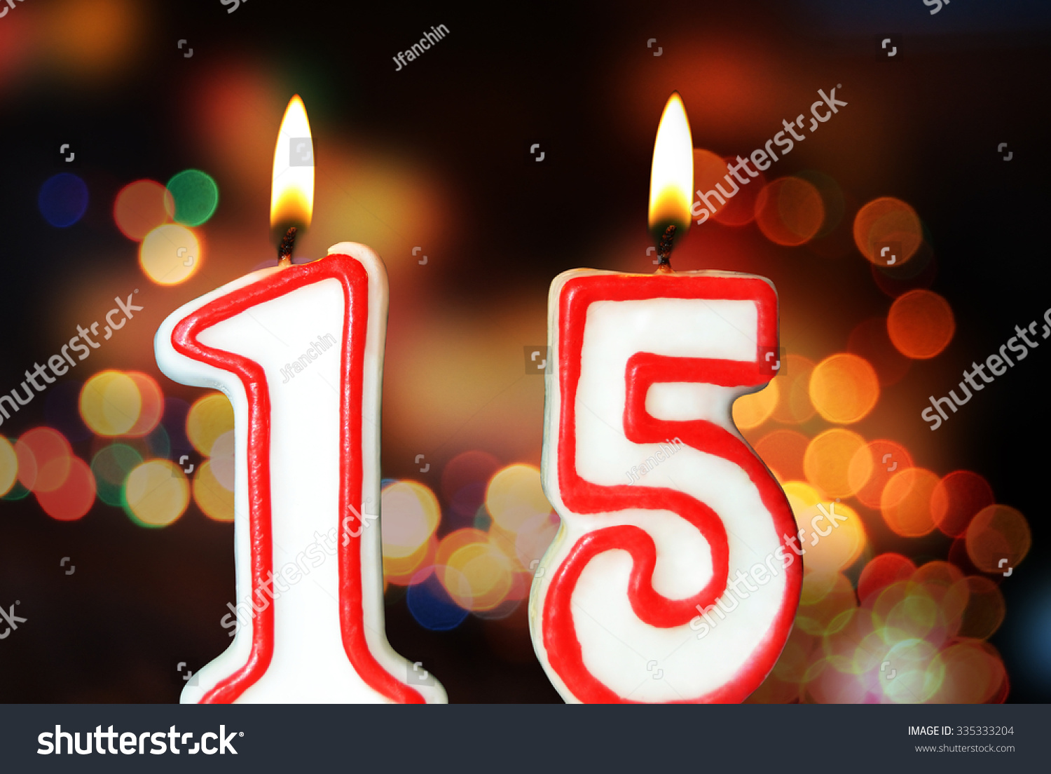 Birthday Candles Celebrating 15th Anniversary Stock Photo
