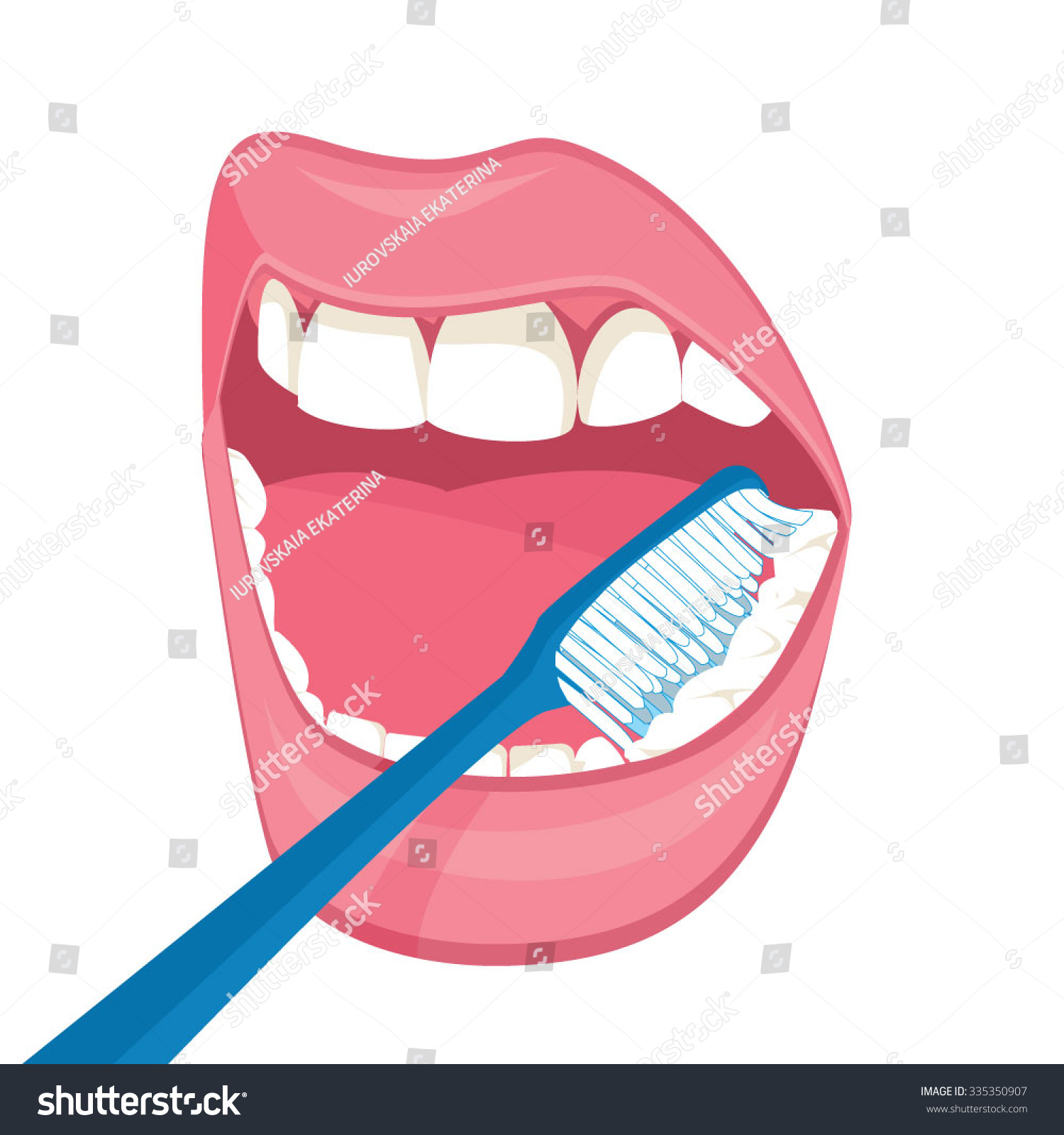 Vector mouth on white background brushing stock vector royalty free vector mouth on a white background brushing teeth blue brush instructions on how to ccuart Gallery