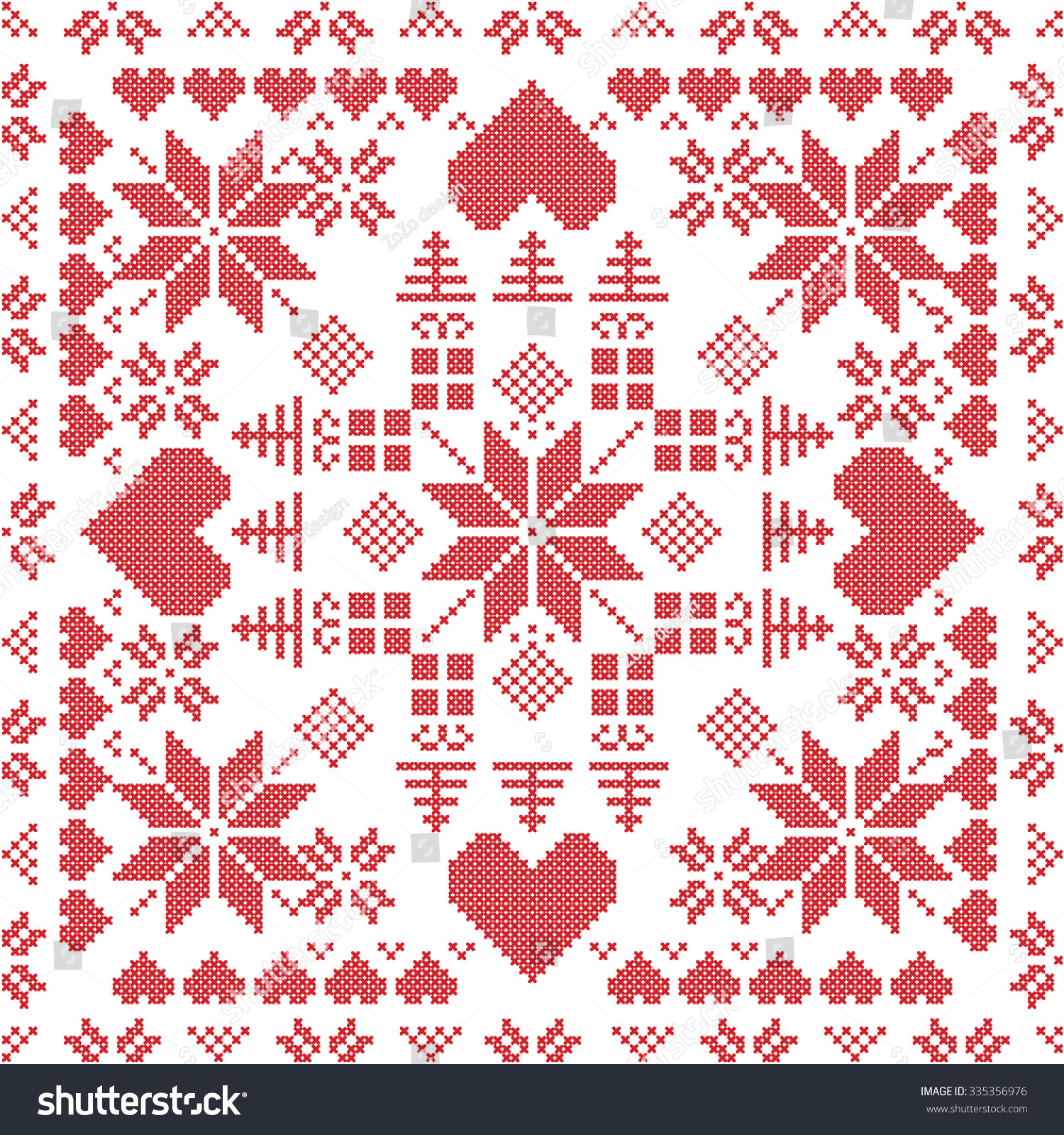 Scandinavian Knitting Patterns : Scandinavian Style Nordic Winter Stich , Knitting Seamless Pattern In The Squ...