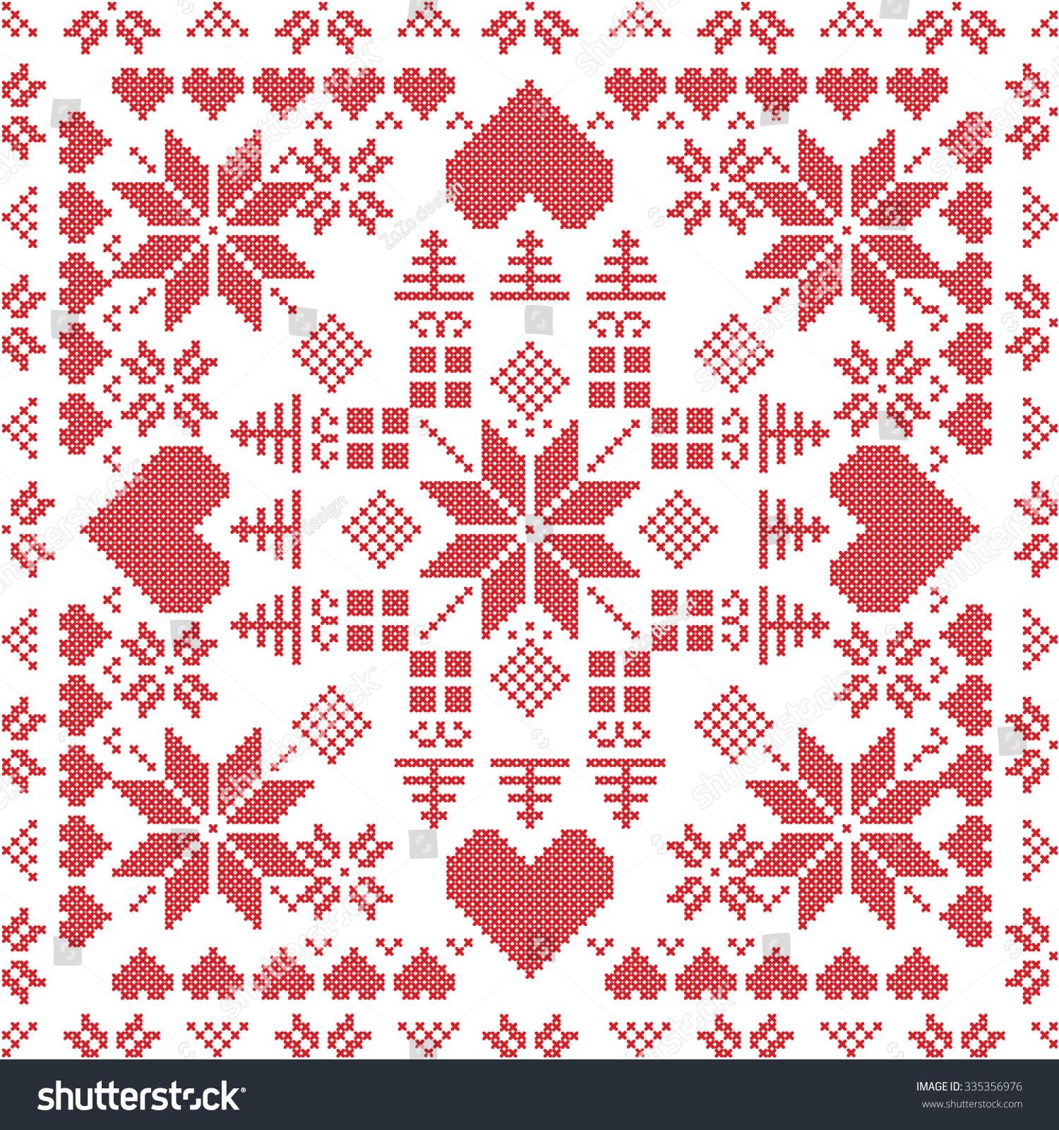 Scandinavian Style Nordic Winter Stich , Knitting Seamless Pattern In The Squ...
