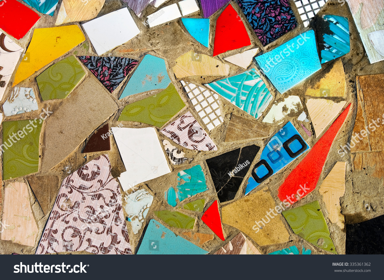Broken tiles mosaic floor or wall background texture stock photo - Old Abstract Texture Colorful Mosaic On Stock Photo