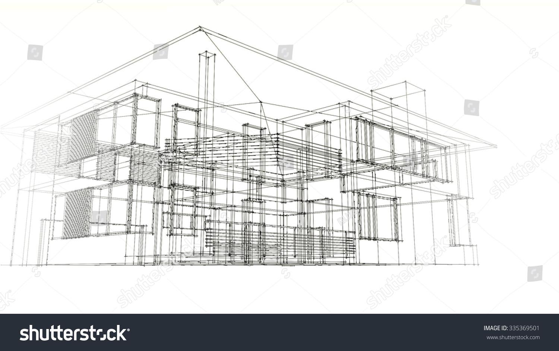 Modern House Wire Frame Stock Illustration 335369501 - Shutterstock