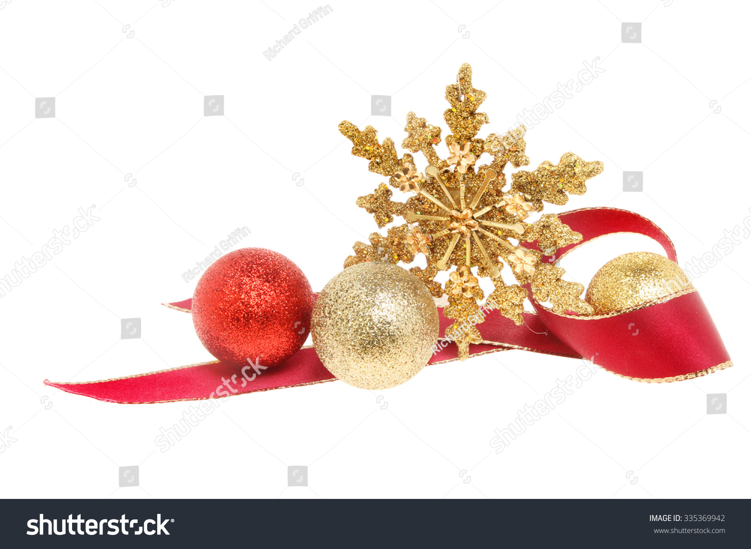 91bc07a1c0fb Gold Red Green Christmas Baubles Isolated. Christmas Decoration A Gold  Glitter Star With Red Ribbon