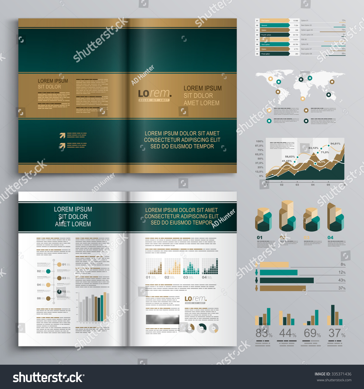 horizontal brochure template - classic brown brochure template design with blue