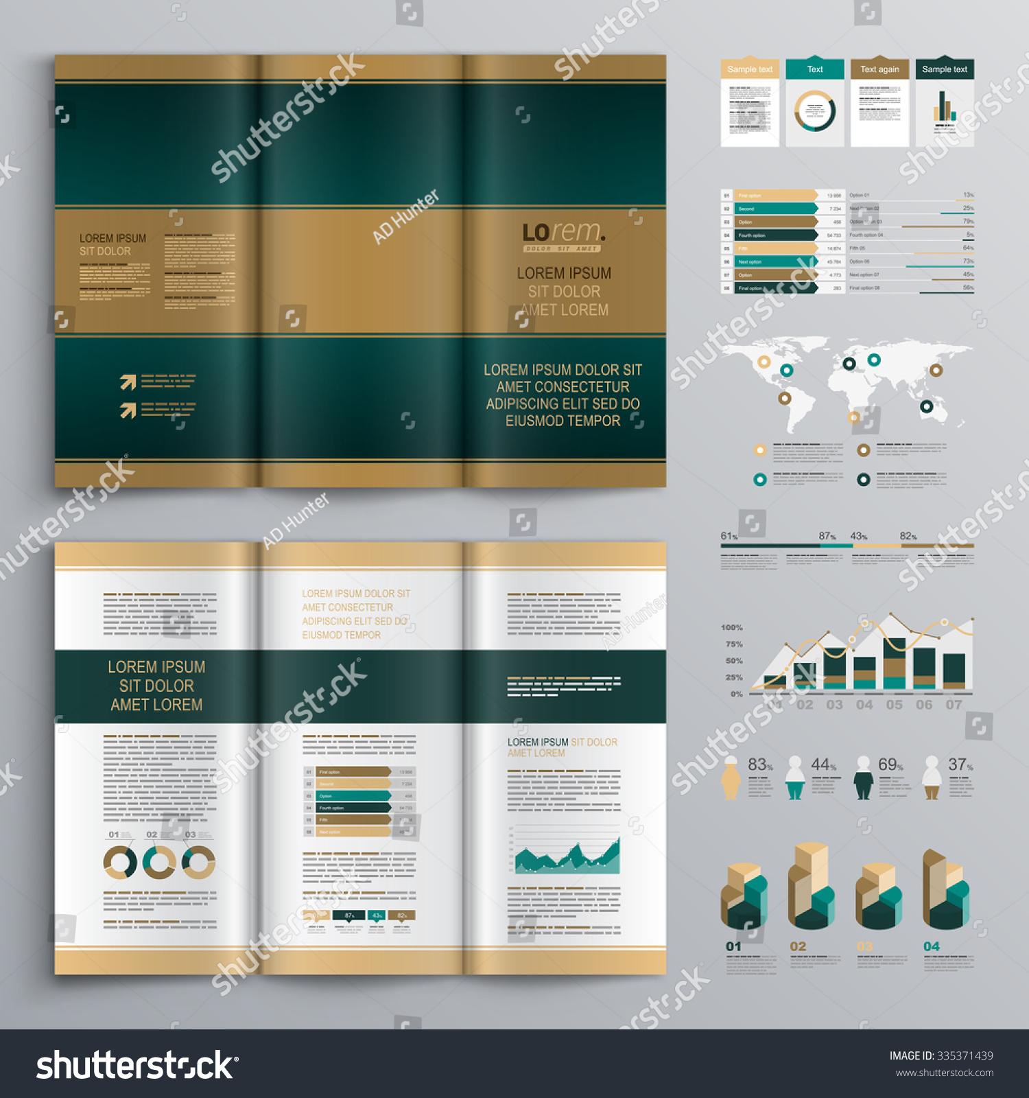 Classic Brown Brochure Template Design Blue Stock Vector - Horizontal brochure template