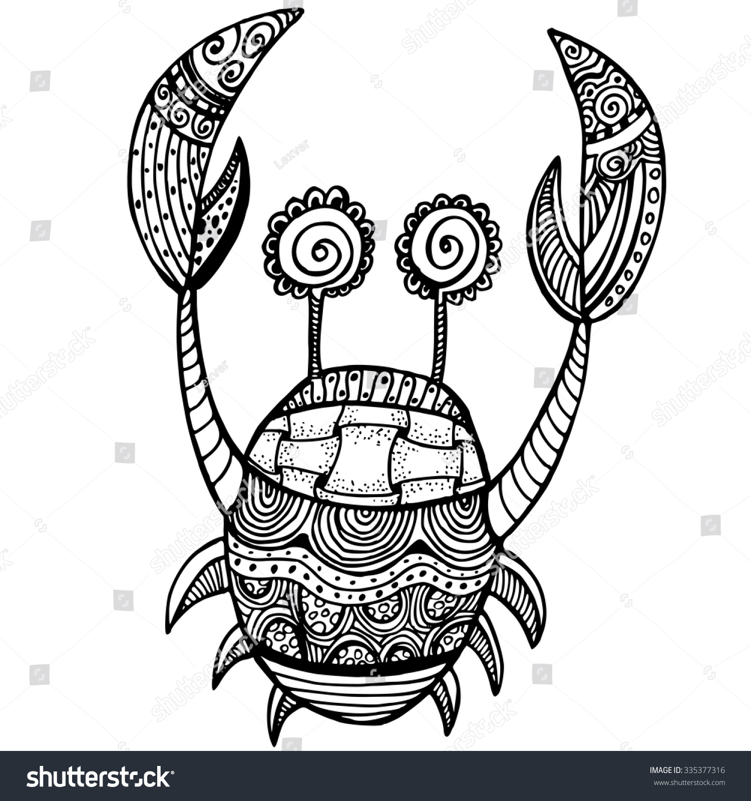 Crab Tattoo Stylized Vector Crab Zentangle Isolated On White