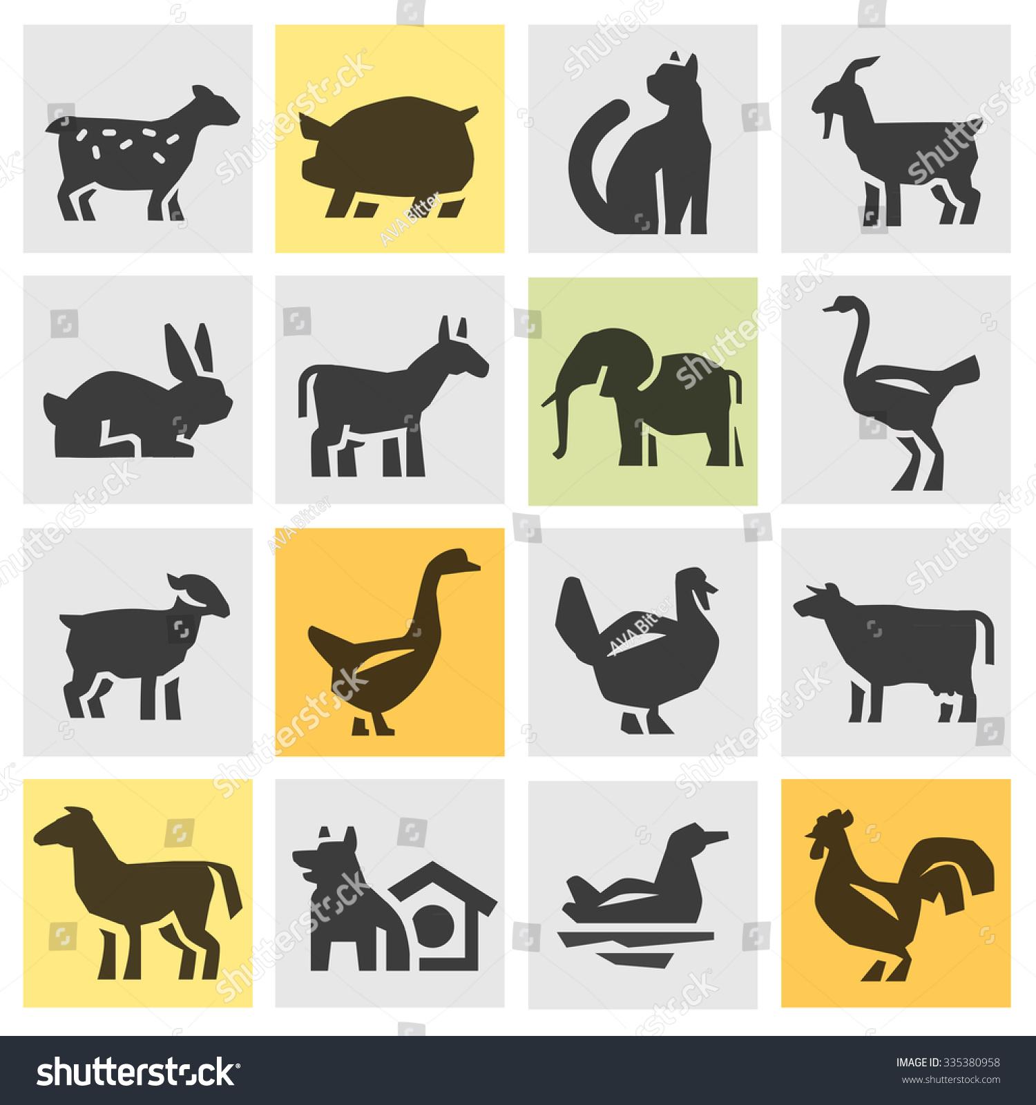 Farm Animals Icons Set Signs Symbols Stock Vector ...
