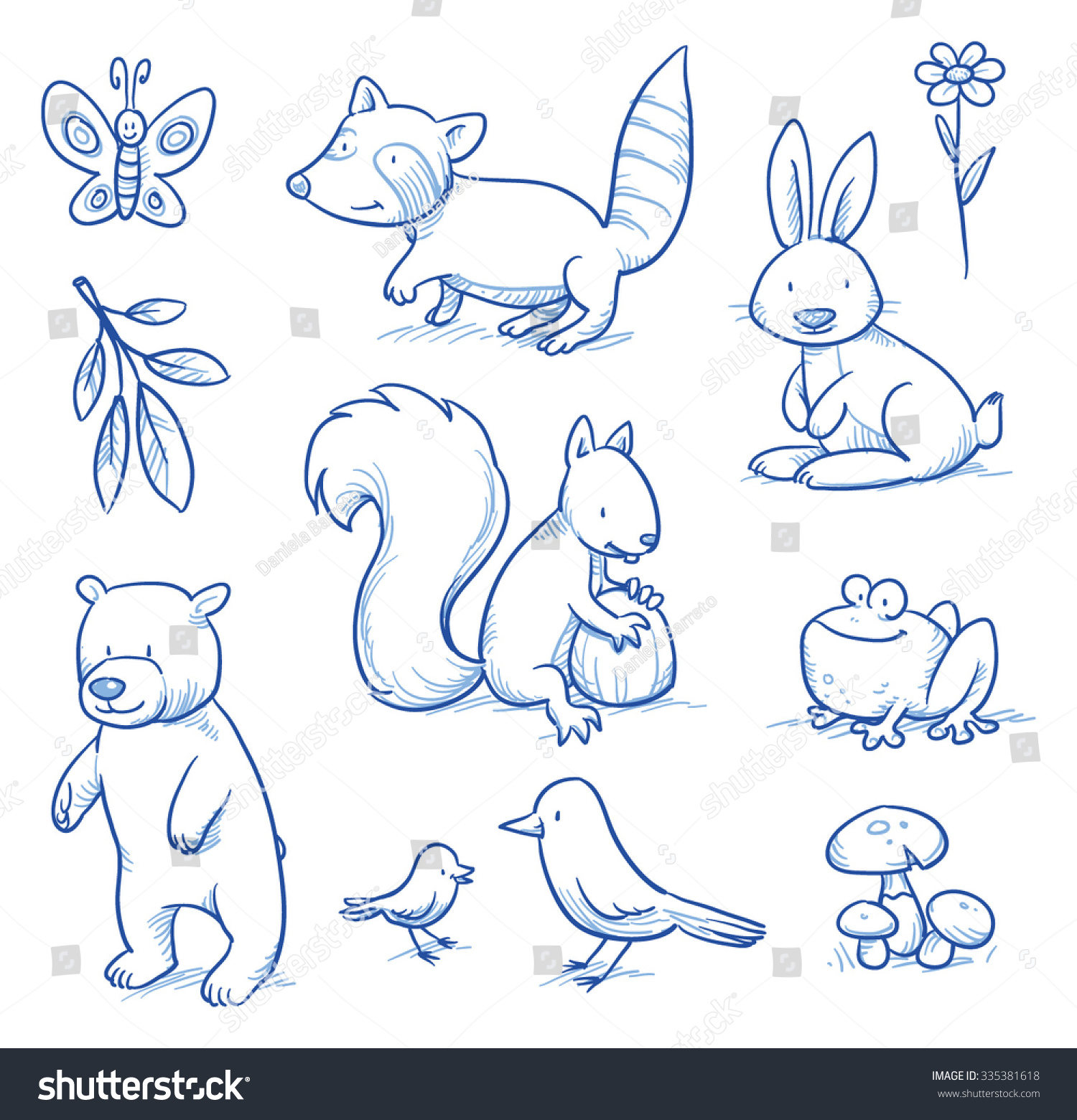 Cute Cartoon Forest Animals Bear Squirrel Stock Vector ...