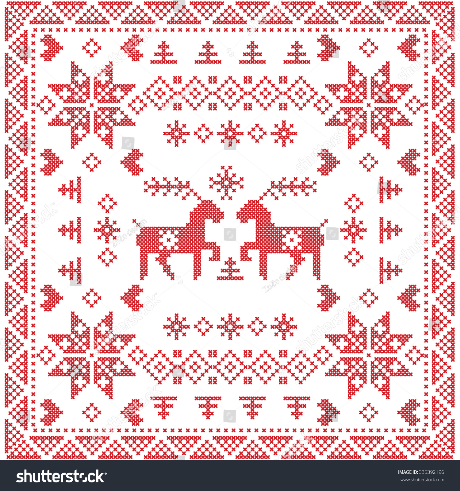 style nordic winter stich knitting seamless pattern in the square tile shape including