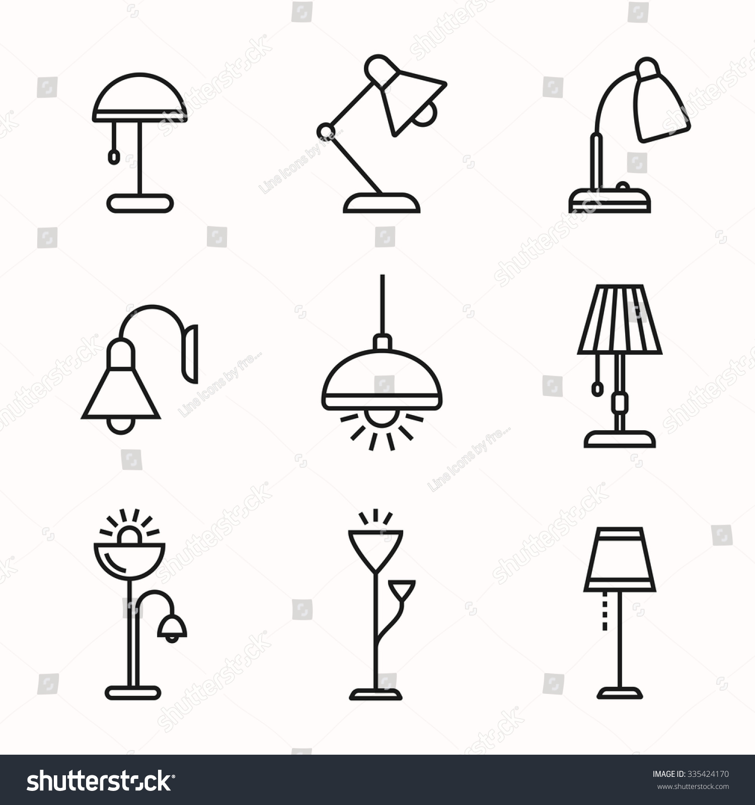 Light Fixture Linear Icon Set. Lamps And Lighting Devices