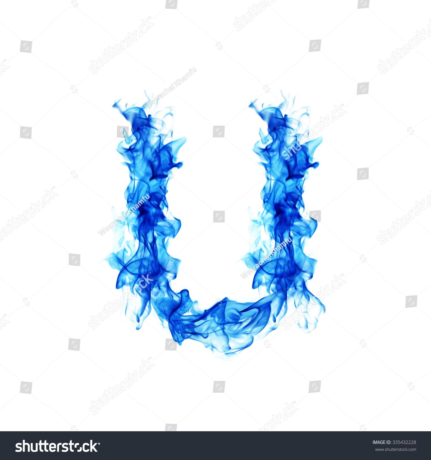 Blue Fire Letter U Stock Photo Edit Now 335432228 Shutterstock