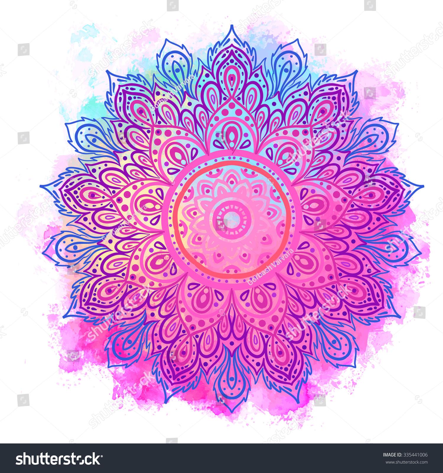 Mandala Over Colorful Watercolor Beautiful Vintage Vectores En Stock 335441006 - Shutterstock