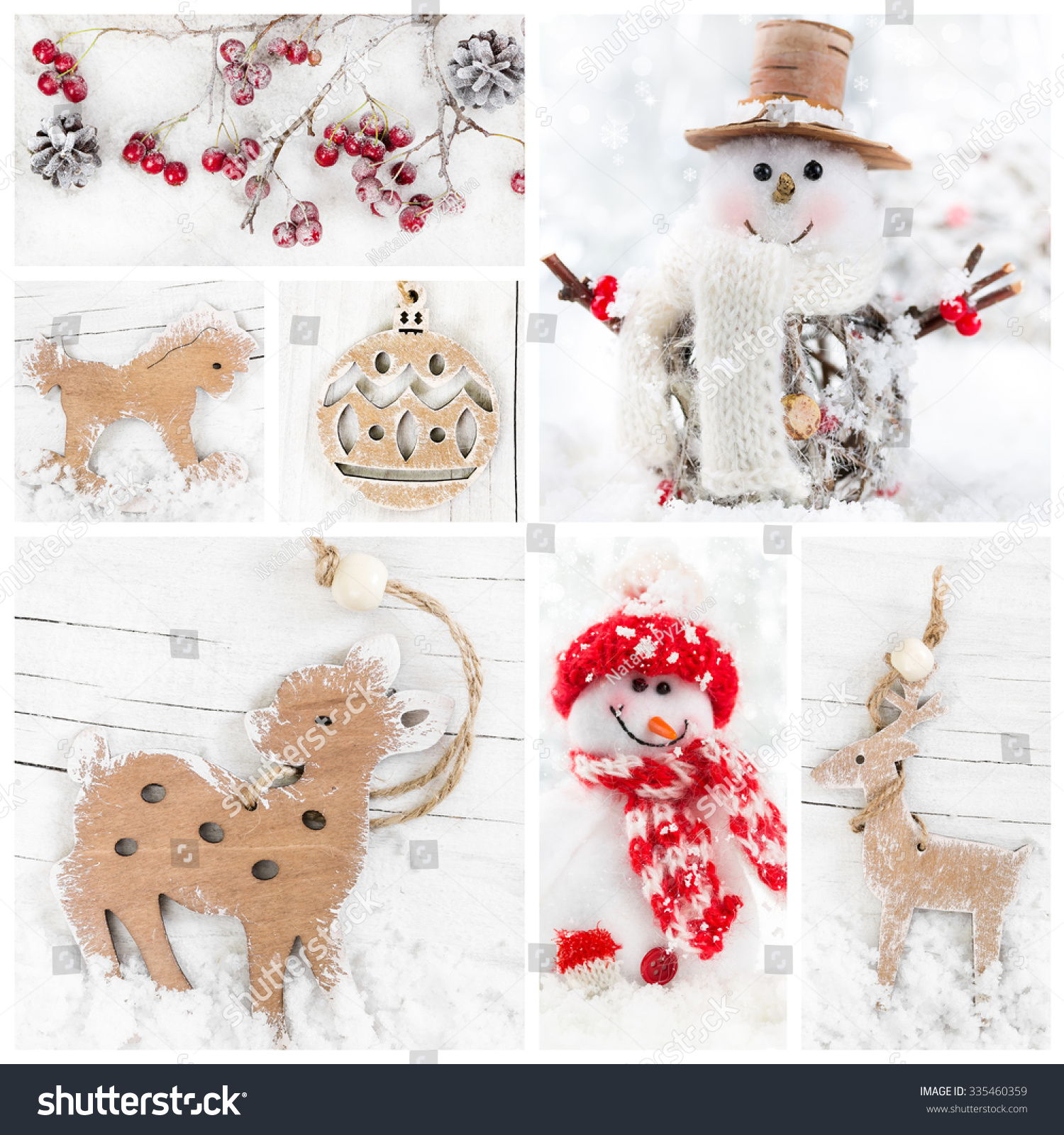 Collage christmas wooden decorative toys snowmans stock